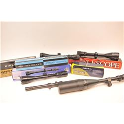 Lot of nine rifle scopes including:  a BSA  Contender 4 x 16 x 50 with an adjustable  objective and