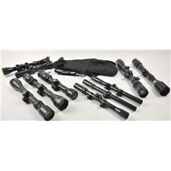 Lot of twelve rifle and pistol scopes.  The  lot includes 4 Tasco 3 x 9 variable power, a  Swift fix