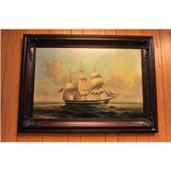 Original oil on canvas of a fully rigged  three-masted sailing ship by James Poole.   The work is 36