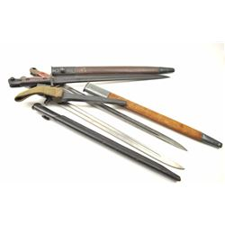 Lot of 4 Englis bayonets with scabbards as  described: 1. 12-42 Broadhead Stamped bayonet. No tip.