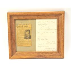 "Handwritten letter to ""B"" western movie star  Tim Holt, son of an earlier star, Jack Holt,  on his f"