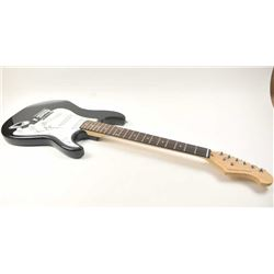 Fender Stratocaster style solid body electric  guitar with a black body, Maple neck with  Rosewood f