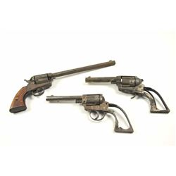 Lot of three rusty relic Mexican single  action revolvers.  The lot includes three  antique pistols