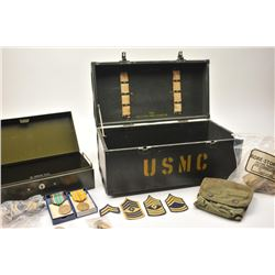 Military collector's lot with USMC box and  assorted smalls.  Est.:  $200-$400.