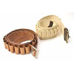 Creger Leather of Tustin, leather and fabric  cartridge belt for 12 gauge shotgun shells in  an Old
