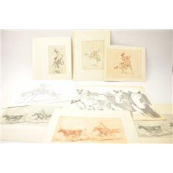 Lot of 11 cowboy and western etchings by  Edward Borein in various sizes on heavy rag  paper.  The p