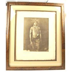 """Sepia tone print entitled, """"Snake Dancer in  Costume"""".  The print is taken from a copy  written phot"""