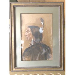 Watercolor of an Indian brave by noted Cody,  Wyoming artist Glen S. Hopkinson.  The piece  is signe