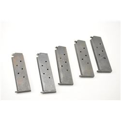 Lot of five WWII era Colt 1911 pistol  magazines.  The pistols are in fair to good  condition with l