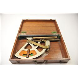 WWI U.S. Navy Gunner's quadrant in the  original fitted wooden case.  The quadrant  was purported to