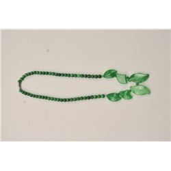 One unique green Jade necklace with leaf  designs and beads Est:$375-750