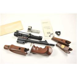 Lot of Thompson Contender accessories  including a barrel with scope and rings,  three sets of fore