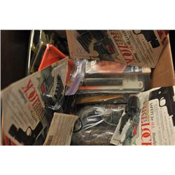 Bonanza box lot of hunting gear with grunt  tubes, duck and goose calls, rattles, bear  calls, varmi