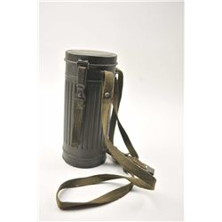 WWII era German gas mask in canister.  The OD  green canister and mask are in good overall  conditio