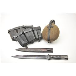 """German WWII lot including a 1941 dated FNJ  #9103R, scabbard #1900, marked """"Jsch"""" dated  1940.  The"""