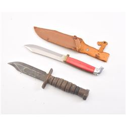 Lot of two fixed blade knives.  The lot  includes an early Ka-Bar style knife with  stacked leather