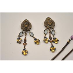 A set of Victorian chandelier earrings in  great shape with a a woven magnifying glass  necklace  wi