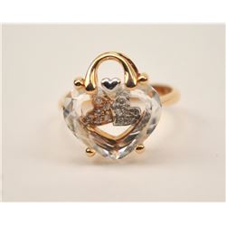 14k Rose Gold Ring set with crystal (Rosato,  Italy). Est:$200-400