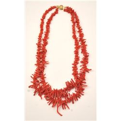 Natural Coral Necklace with 14k gold clasp.  Est:$200-400