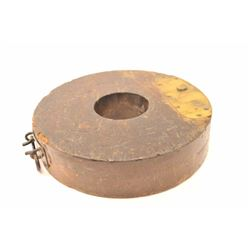 Wood and brass drum for a Gatling gun.  The  drum is possibly for training, unmarked and  antique wi