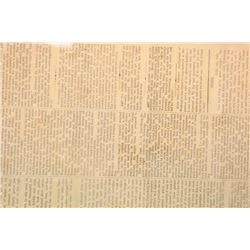 Daily Citizen newspaper, J.M. Swords Prop.  Vicksburg, Mississippi dated July 2, 1863  with articles