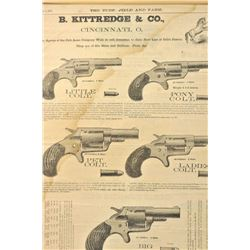 Matted original B. Kittredge & Co. advertiser  dated July 9, 1875 for Colt's New Line  revolvers.  T