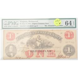 P.M.G. graded in holder July 21 1862 Virginia  Treasury note (Confederate). Notes  exceptional paper