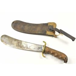 U.S. Hospital Corps Bolo knife with scabbard  dated 1910 and S.A. marked.  The scabbard is  also dat