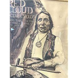 """Original artwork for the magazine, """"Red  Cloud"""".  The artist is unknown and looks to  be 30-60 years"""