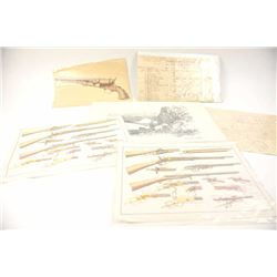 Print lot including firearm schematics of  Vetterli, Winchester and Colt guns.  The lot  also includ
