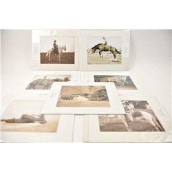 Lot of beautiful matted black and white  photographs of cowboys and western scenes  including;  101