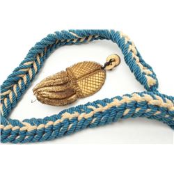 Blue and white braided cord with gold bullion  tassel, for U.S. naval cocked hat and  aggulette for