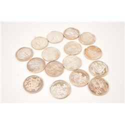 A collection of 16 pure one ounce silver  coins from the mythological series,including  Hiawatha, me