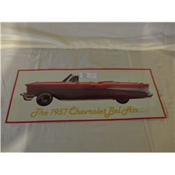"Chevrolet 1957 Bel Air Tin Sign 9"" W by 22"" T"