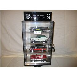 "Table Top Plastic Display Case With Lock and Key 6.5"" by 11"" by 19"" and 4 1950s Chevrolet Models"