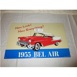 "2 Chevrolet 1955 Bel Air Tin Signs 12"" by 18"""