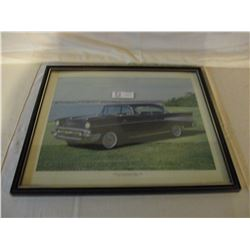 "2 Chevrolet 1957 Framed Bel Air Car Pictures 17"" by 21"""