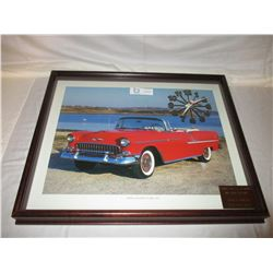 "Chevrolet 1955 Bel Air Framed Clock Picture 17"" by 21"""