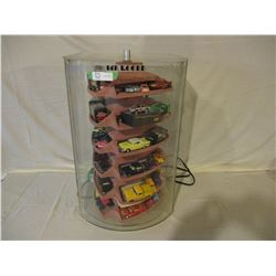 "Table Top Electric Display Case w/Lock & Key 16.5 x 15 x 26.5"" w/ 50 Small Chevrolet Cars and Trucks"