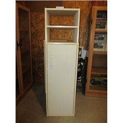 "White Floor Shelf Unit with Door 7.5"" by 12"" by 43"" T"