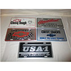 5 Chevrolet Truck Collector License Plates
