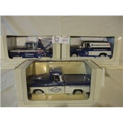 3 N.I.B Chevrolet 1957 GMC Parts Wagon and Tow Truck Models