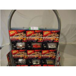 """Floor Display Peg Board 65"""" T with 41 N.I.P Johnny Lightning and Muscle Machines Cars"""