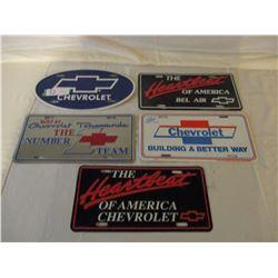 5 Chevrolet Metal License Plates