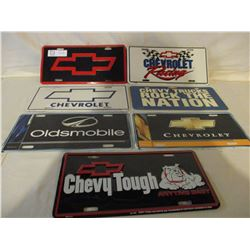 7 Chevrolet Metal and Plastic License Plates