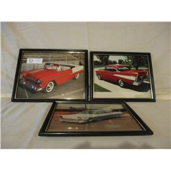 """3 Chevrolet Framed Pictures 12"""" by 10"""""""