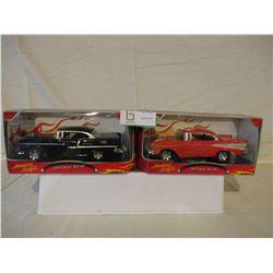 2 N.I.B Chevrolet 1955 and 1957 Custom Hot Rods 1/24 Scale