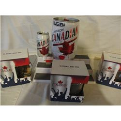 5 Molson Canadian Collector Beer Mugs and Bubba Cans