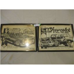 """Chevrolet 1950s Hot Rod Framed Dave Bell Drawings 1979 and 1980 13"""" by 17"""""""