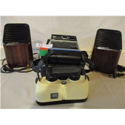 Kodak 1970s Camera and Case plus Bush Nelle XPO Binoculars and a Pair of Table Top Fans